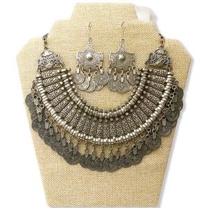 Boho Necklace Earring Set Coin Metal Bollywood